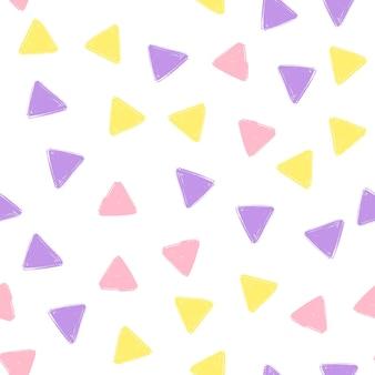 손으로 그리는 삼각형 패턴 키즈 퍼플, 핑크, 옐로우. 벡터 끝 없는 배경 연필 파스텔 색상에 삼각형의 질감입니다. 포장, 아기 섬유, 웹 사이트 배경 템플릿