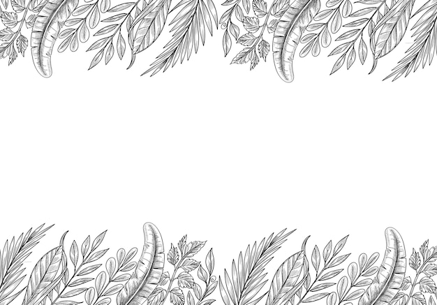 Рука рисовать эскиз листьев тропических растений