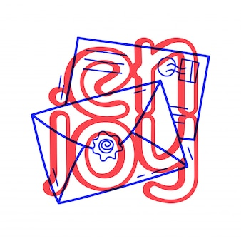 Hand draw two mail icon in doodle style with lettering.