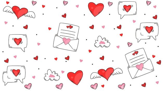 Hand draw valentine's day background