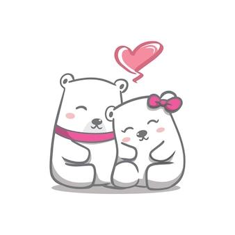 Рука рисовать день святого валентина пара белых медведей