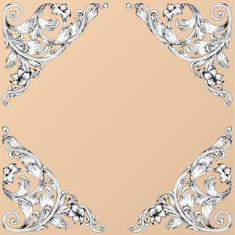 Hand draw vintage baroque frame scroll