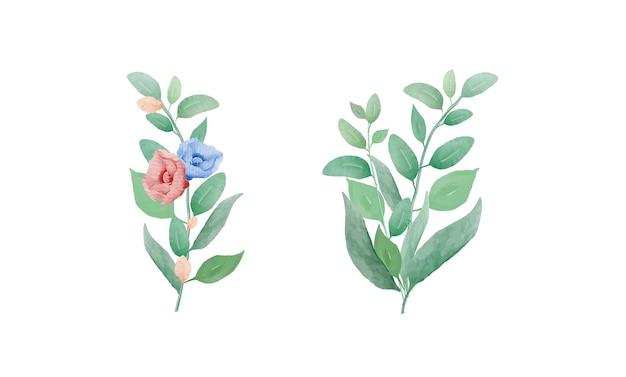 手描き水彩花と緑の葉の花束セット