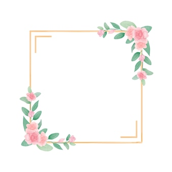 Hand draw watercolor floral frame design with rose and green leaves