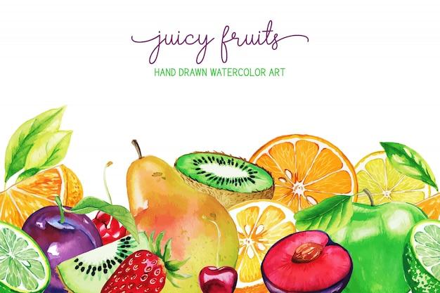 手描き水彩の庭の果物