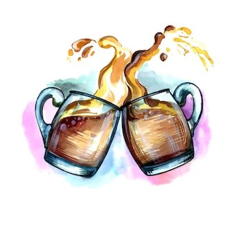 ビールの泡のデザインのスプラッシュと乾杯でビールドリンクの水彩画2マグカップを手描き