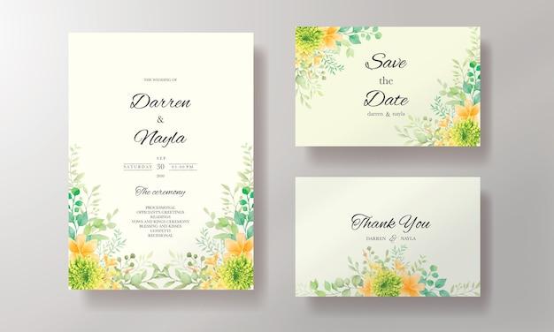 Ручной обращается акварель свадебное приглашение шаблон карты с украшениями из цветов и листьев