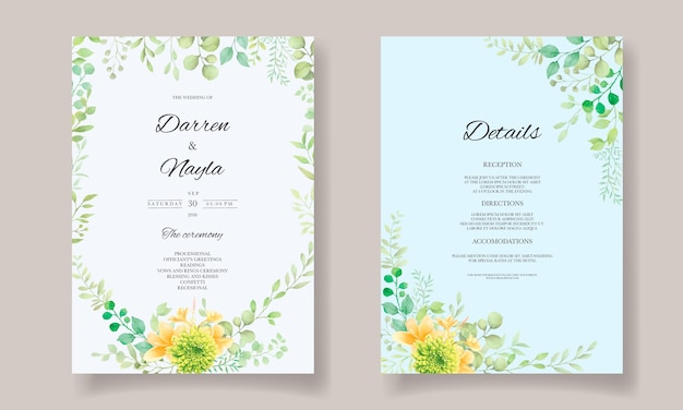 Hand draw watercolor wedding invitation card template with flowers and leaves decoration