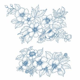 Hand draw wedding floral set sketch background