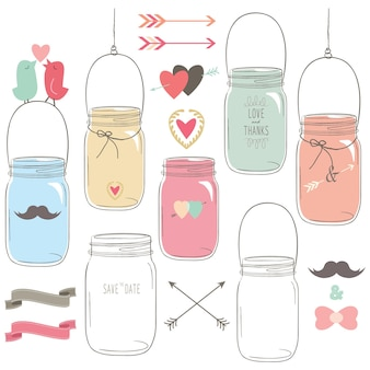Hand draw wedding mason jar