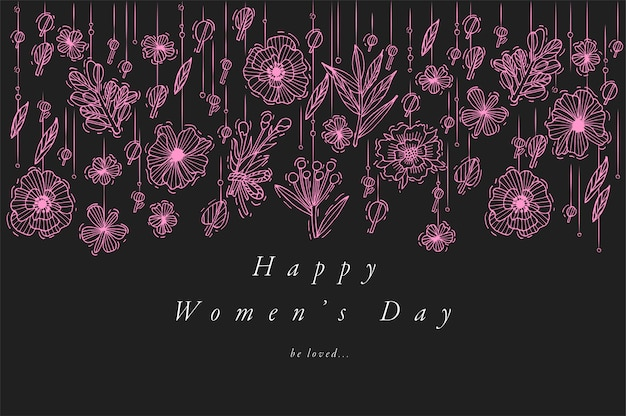 Hand draw  for women's dayg reetings card neon color. typography and icon for 8 march background, banners or posters and other printables. spring holidays  elements.