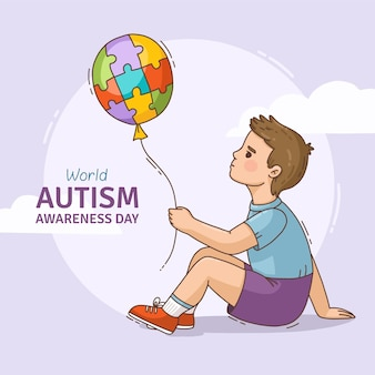 Hand draw world autism awareness day illustration