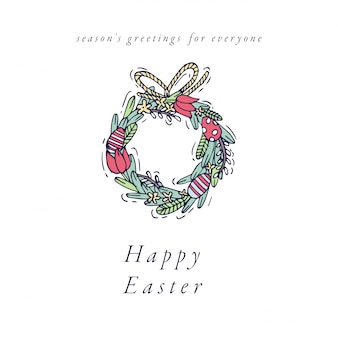 Hand draw wreath design for easter greetings card colorful color. typography and icon spring holiday background, banners or posters and other printables.