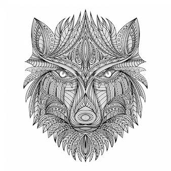 Hand draw zentangle wolf  illustration
