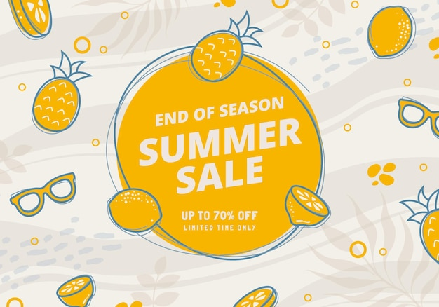 Hand drawan illustration end of season summer sale offer banner concept