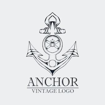 Hand drawig anchor vintage logo Premium Vector