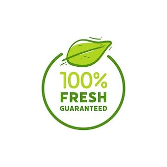 손 그리기 100% 신선한 기호입니다. 신선한 제품 요소 녹색 레이블입니다.