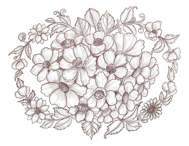 手描きと装飾花のスケッチ