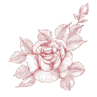 手描きとバラの花のデザインをスケッチ