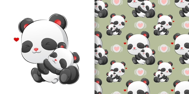 Hand drawing of the baby panda sleeping with her mother in the pattern set illustration