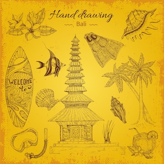 Hand drawing balinese illustration