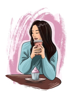手描きの美しい若い女性の肖像画。コーヒーとファッションの女の子。暖かいセーターの女の子。スケッチ。