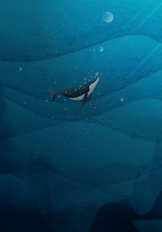 Рука рисунок синих китов, купание в океане.