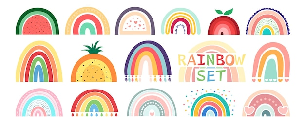 Hand drawing boho rainbow set isolated on white background in cute delicate pastel colors.