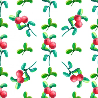 Hand-drawing botanical seamless pattern with cowberry