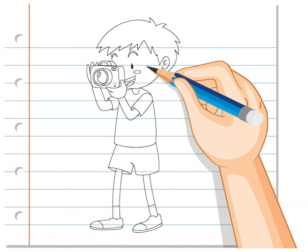 Hand drawing of boy taking photo outline