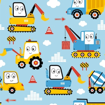 Hand drawing building truck seamless vector illustration for the tshirt design