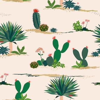 パステルカラーの背景に手描きのサボテンと多肉植物のシームレスパターン