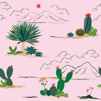 Hand drawing cactus and succulent plants seamless pattern