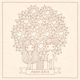 Hand drawing card with adam and eve