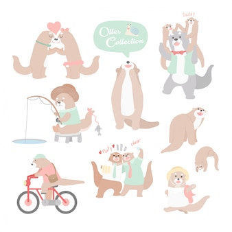 Hand drawing cartoon character otter collection