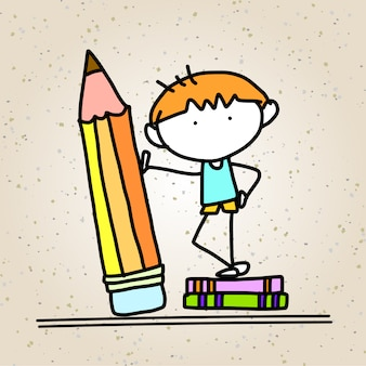 Hand drawing cartoon concept back to school