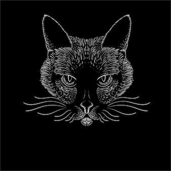 手描きの猫の頭