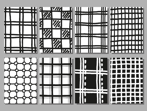 Hand drawing checkered texture set