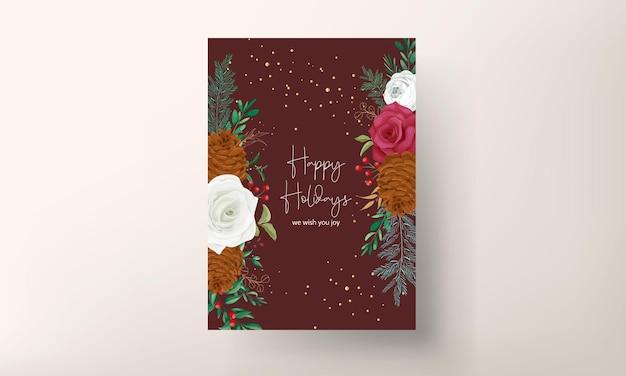 Рука рисунок рождественская открытка красивые цветочные и зелень листья