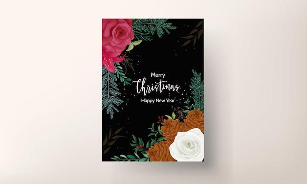 Disegno a mano cartolina di natale bellissime foglie floreali e verdi