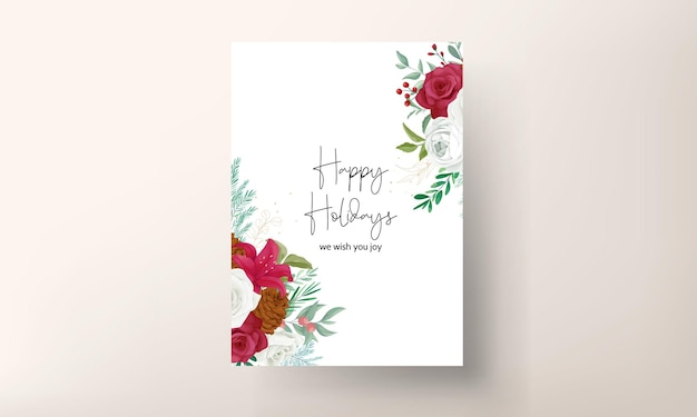 Hand drawing christmas card beautiful floral and greenery leaves