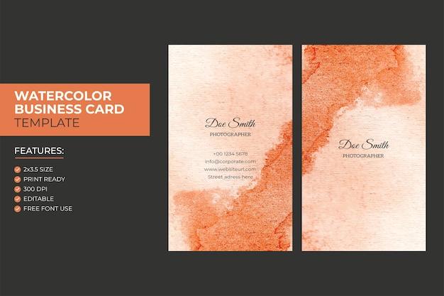 손 그리기 다채로운 추상적 인 수직 수채화 명함 디자인 서식 파일