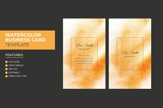 手描きカラフルな抽象的な垂直水彩名刺デザインテンプレート