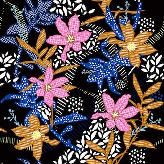 パターンのシームレスなベクトルで手描きのカラフルなflorals