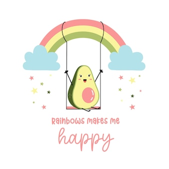 Hand drawing cute avocado and rainbow vector illustration for the tshirt design