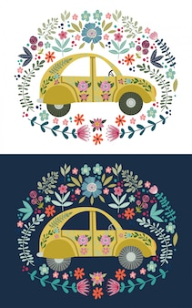 Hand drawing cute cartoon car with a lot of floral elements and patterns. doodle flat