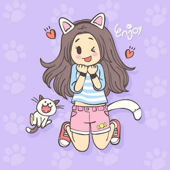 Hand drawing cute cartoon girl character