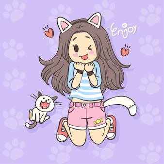Hand drawing cute cartoon girl character