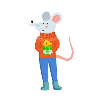 Hand drawing cute christmas mice in cozy clothes with gift. vector illustration with funny mouse for new 2020 year. symbol the chinese calendar. winter holidays games.