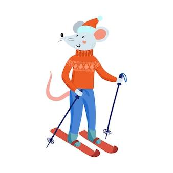 Рука рисунок милых рождественских мышей в уютной одежде. векторная иллюстрация с забавной мышкой на новый 2020 год. символ китайского календаря. зимние каникулы, игры, катание на лыжах.